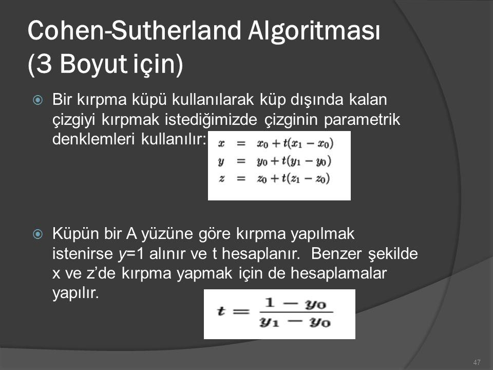 Cohen-Sutherland Algoritması (3 Boyut için)  Bir kırpma küpü kullanılarak küp dışında kalan çizgiyi kırpmak istediğimizde çizginin parametrik denklem