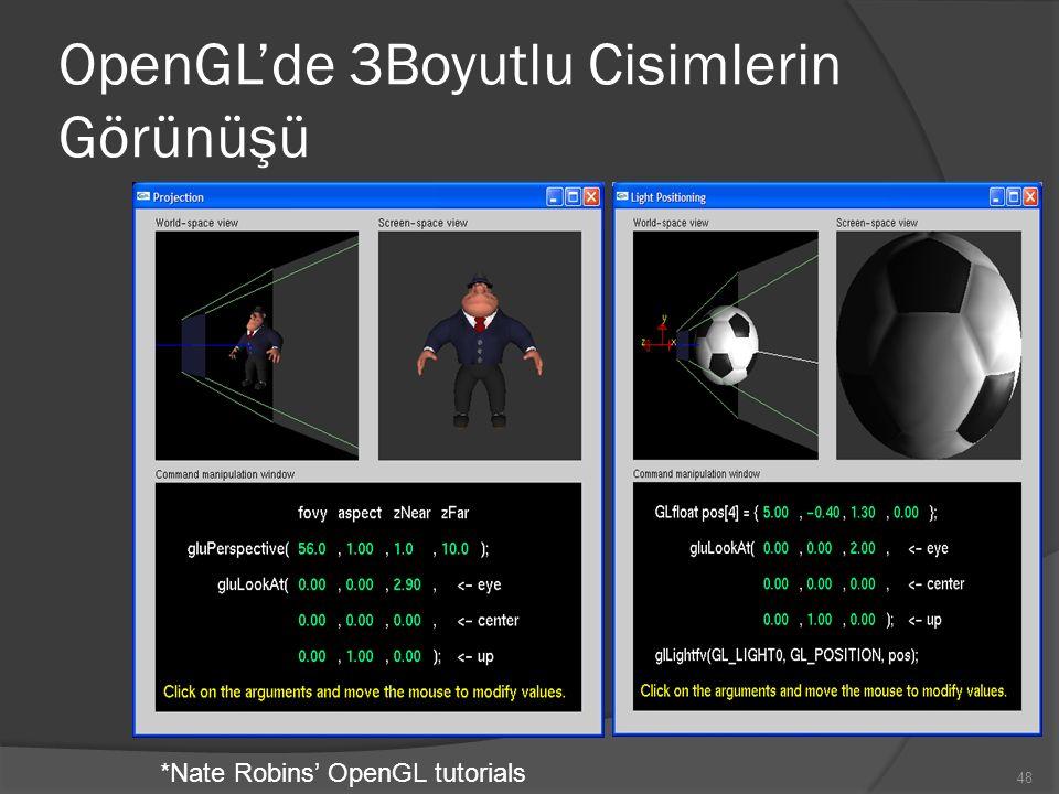 OpenGL'de 3Boyutlu Cisimlerin Görünüşü *Nate Robins' OpenGL tutorials 48