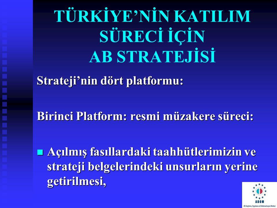 TÜRKİYE'NİN KATILIM SÜRECİ İÇİN AB STRATEJİSİ Strateji'nin dört platformu: Birinci Platform: resmi müzakere süreci: Açılmış fasıllardaki taahhütlerimi
