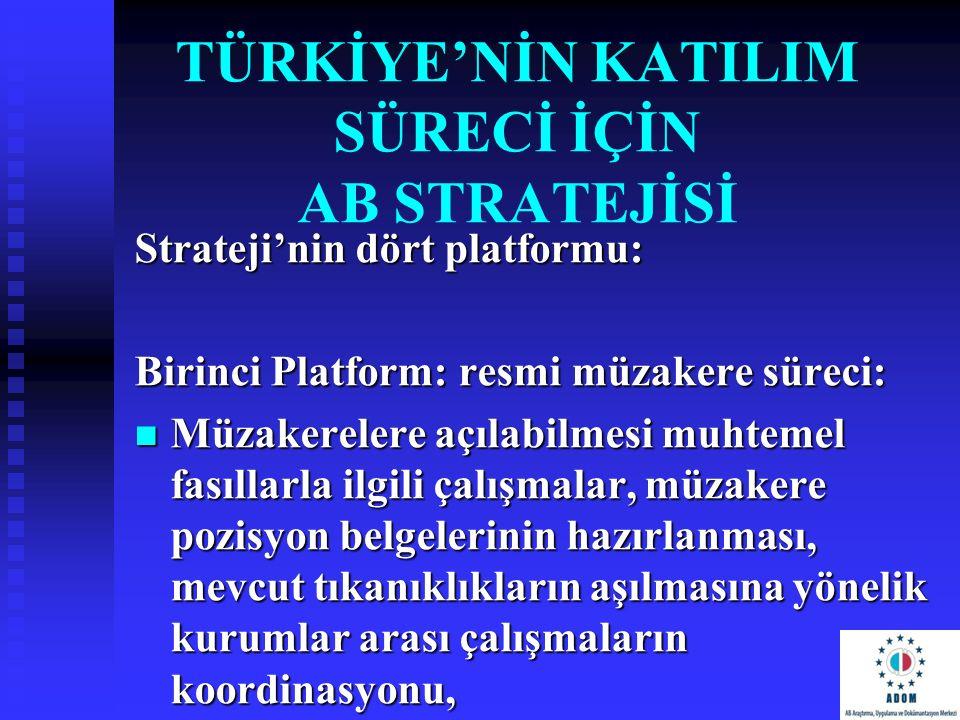 TÜRKİYE'NİN KATILIM SÜRECİ İÇİN AB STRATEJİSİ Strateji'nin dört platformu: Birinci Platform: resmi müzakere süreci: Müzakerelere açılabilmesi muhtemel