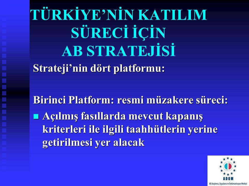 TÜRKİYE'NİN KATILIM SÜRECİ İÇİN AB STRATEJİSİ Strateji'nin dört platformu: Birinci Platform: resmi müzakere süreci: Açılmış fasıllarda mevcut kapanış