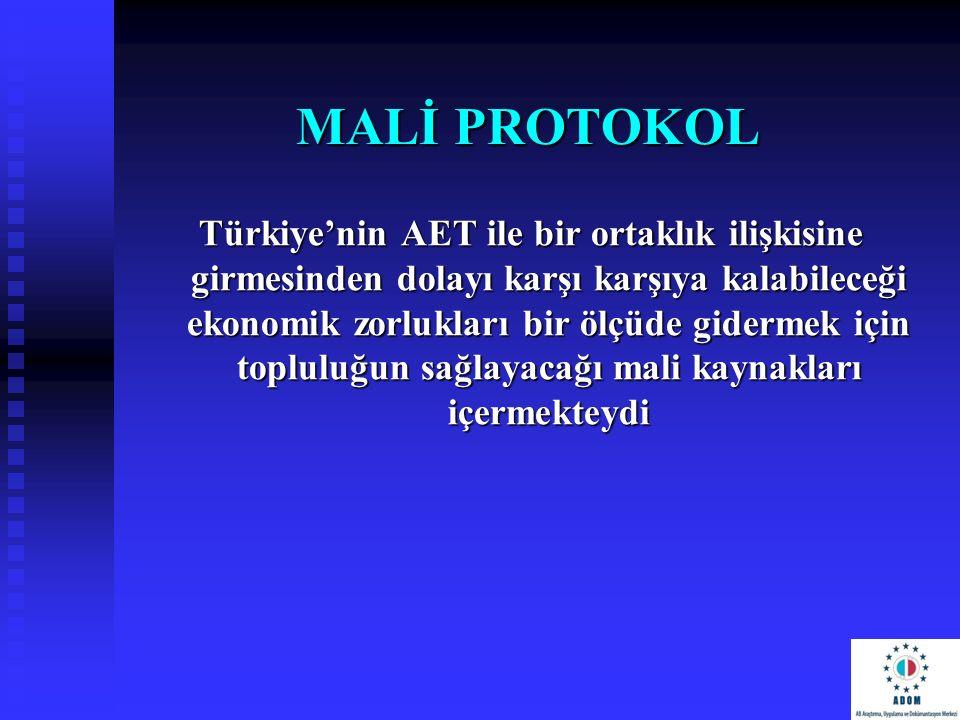 MALİ PROTOKOL Türkiye'nin AET ile bir ortaklık ilişkisine girmesinden dolayı karşı karşıya kalabileceği ekonomik zorlukları bir ölçüde gidermek için t