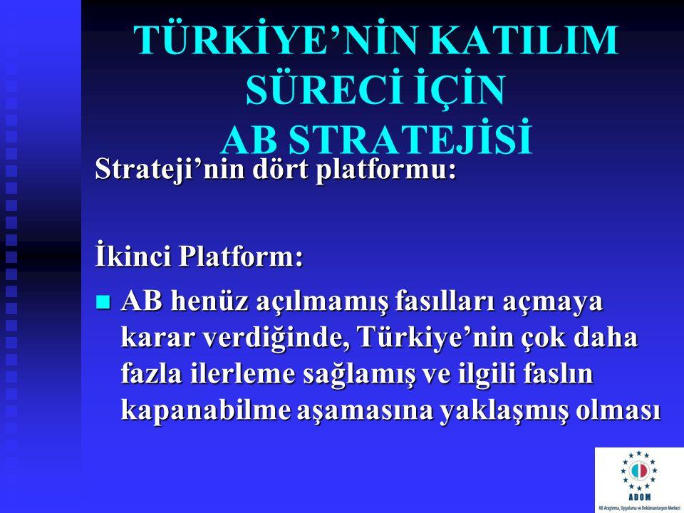 TÜRKİYE'NİN KATILIM SÜRECİ İÇİN AB STRATEJİSİ Strateji'nin dört platformu: İkinci Platform: AB henüz açılmamış fasılları açmaya karar verdiğinde, Türk