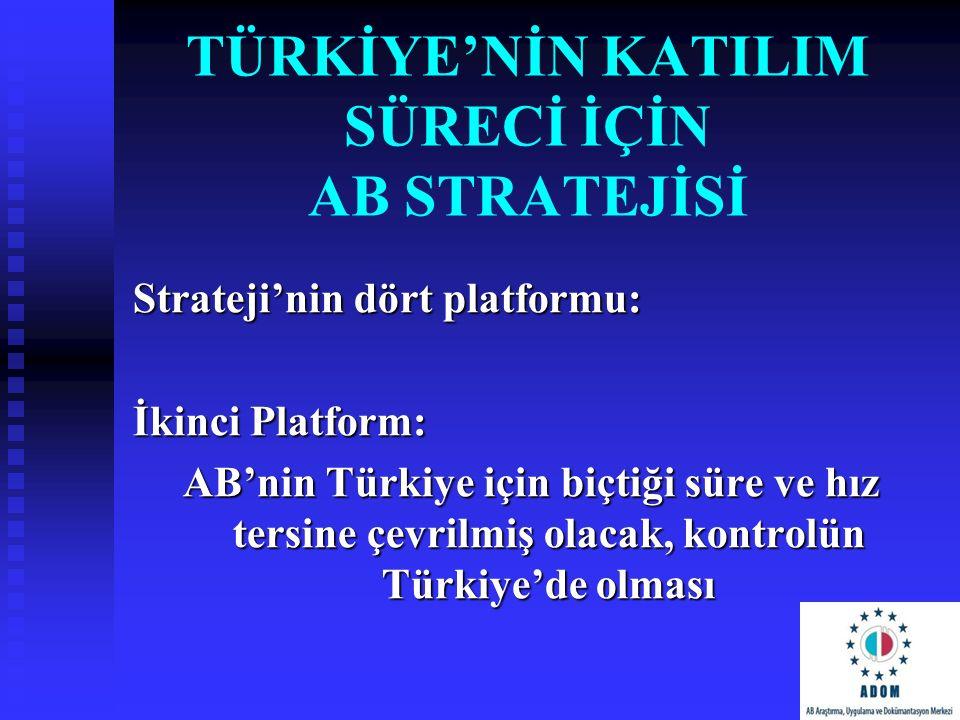 TÜRKİYE'NİN KATILIM SÜRECİ İÇİN AB STRATEJİSİ Strateji'nin dört platformu: İkinci Platform: AB'nin Türkiye için biçtiği süre ve hız tersine çevrilmiş