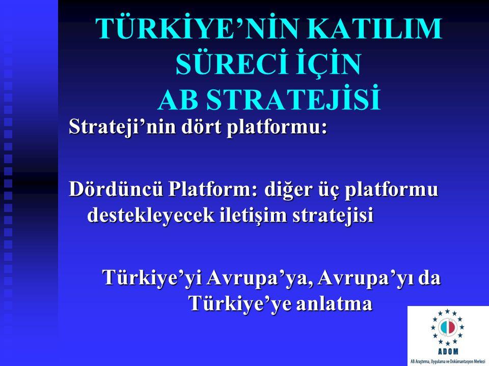 TÜRKİYE'NİN KATILIM SÜRECİ İÇİN AB STRATEJİSİ Strateji'nin dört platformu: Dördüncü Platform: diğer üç platformu destekleyecek iletişim stratejisi Tür
