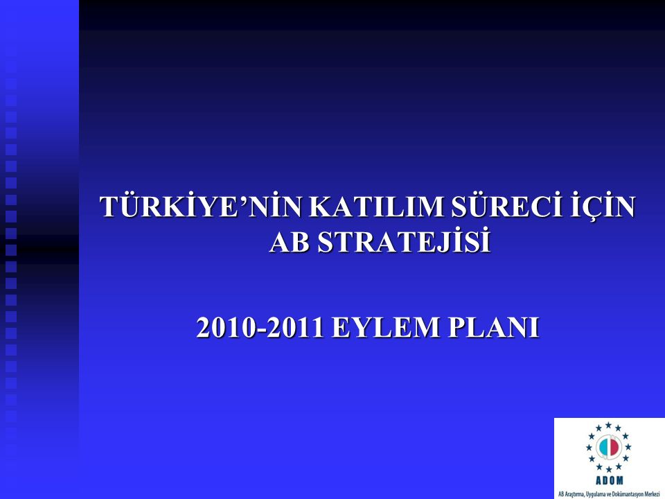 TÜRKİYE'NİN KATILIM SÜRECİ İÇİN AB STRATEJİSİ 2010-2011 EYLEM PLANI