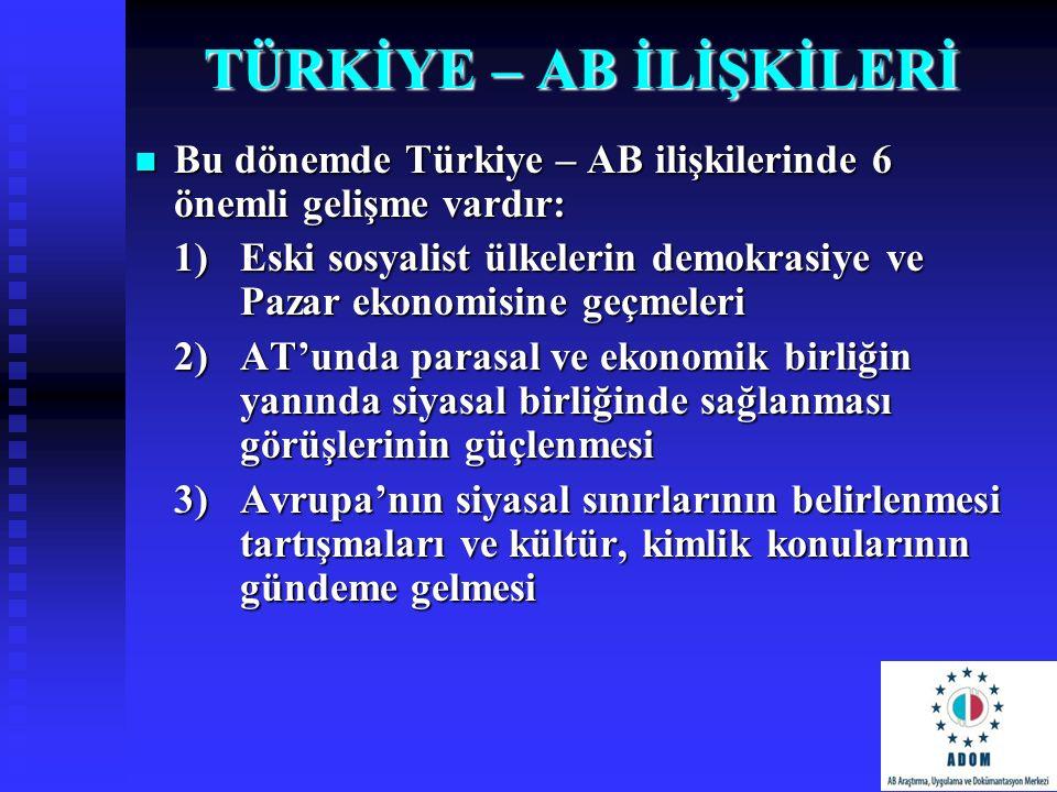 TÜRKİYE – AB İLİŞKİLERİ Bu dönemde Türkiye – AB ilişkilerinde 6 önemli gelişme vardır: Bu dönemde Türkiye – AB ilişkilerinde 6 önemli gelişme vardır: