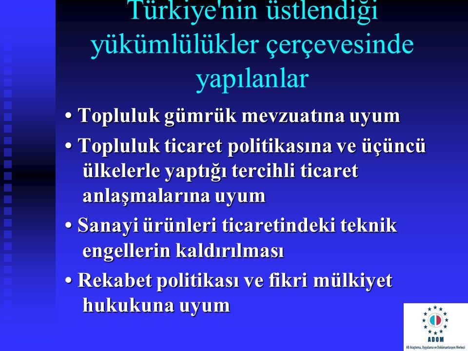 Türkiye'nin üstlendiği yükümlülükler çerçevesinde yapılanlar Topluluk gümrük mevzuatına uyum Topluluk gümrük mevzuatına uyum Topluluk ticaret politika
