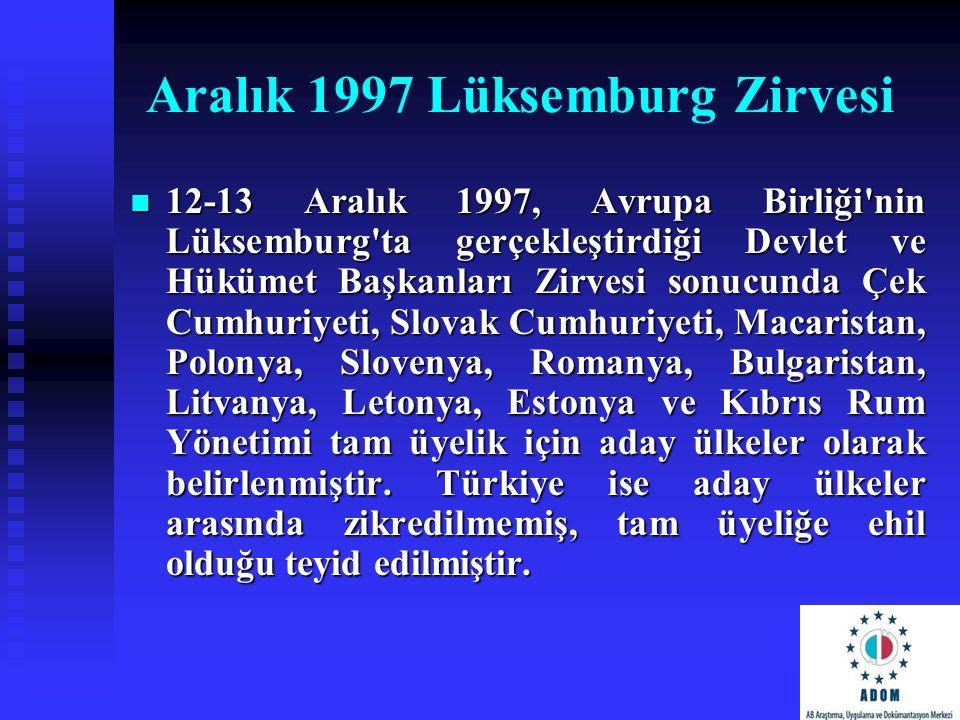 Aralık 1997 Lüksemburg Zirvesi 12-13 Aralık 1997, Avrupa Birliği'nin Lüksemburg'ta gerçekleştirdiği Devlet ve Hükümet Başkanları Zirvesi sonucunda Çek