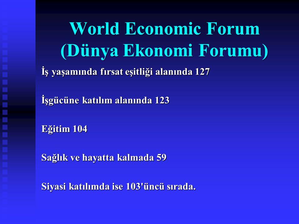World Economic Forum (Dünya Ekonomi Forumu) İş yaşamında fırsat eşitliği alanında 127 İşgücüne katılım alanında 123 Eğitim 104 Sağlık ve hayatta kalma