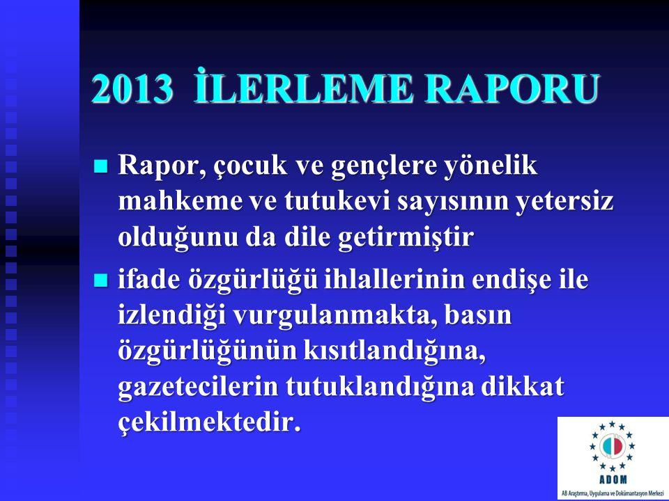 2013 İLERLEME RAPORU Rapor, çocuk ve gençlere yönelik mahkeme ve tutukevi sayısının yetersiz olduğunu da dile getirmiştir Rapor, çocuk ve gençlere yön