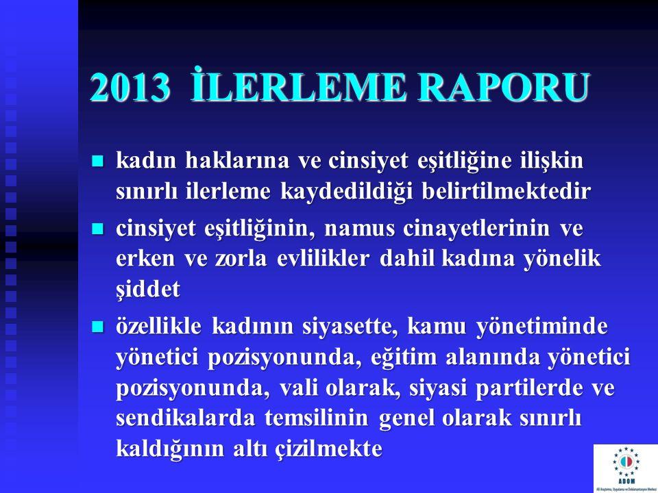 2013 İLERLEME RAPORU kadın haklarına ve cinsiyet eşitliğine ilişkin sınırlı ilerleme kaydedildiği belirtilmektedir kadın haklarına ve cinsiyet eşitliğ