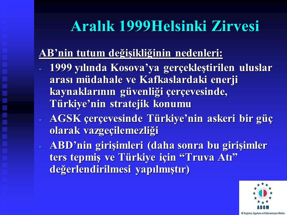 Aralık 1999Helsinki Zirvesi AB'nin tutum değişikliğinin nedenleri: - 1999 yılında Kosova'ya gerçekleştirilen uluslar arası müdahale ve Kafkaslardaki e