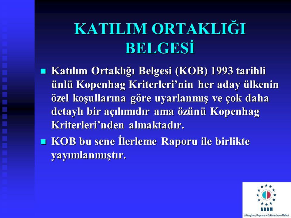 KATILIM ORTAKLIĞI BELGESİ Katılım Ortaklığı Belgesi (KOB) 1993 tarihli ünlü Kopenhag Kriterleri'nin her aday ülkenin özel koşullarına göre uyarlanmış