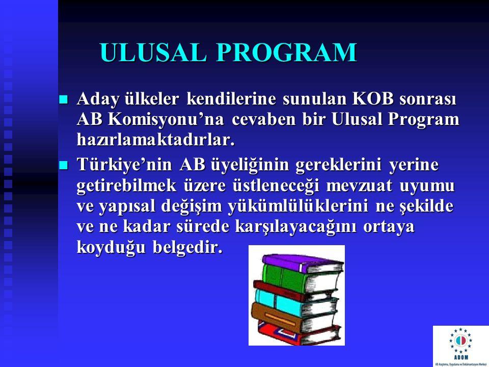 ULUSAL PROGRAM Aday ülkeler kendilerine sunulan KOB sonrası AB Komisyonu'na cevaben bir Ulusal Program hazırlamaktadırlar. Aday ülkeler kendilerine su