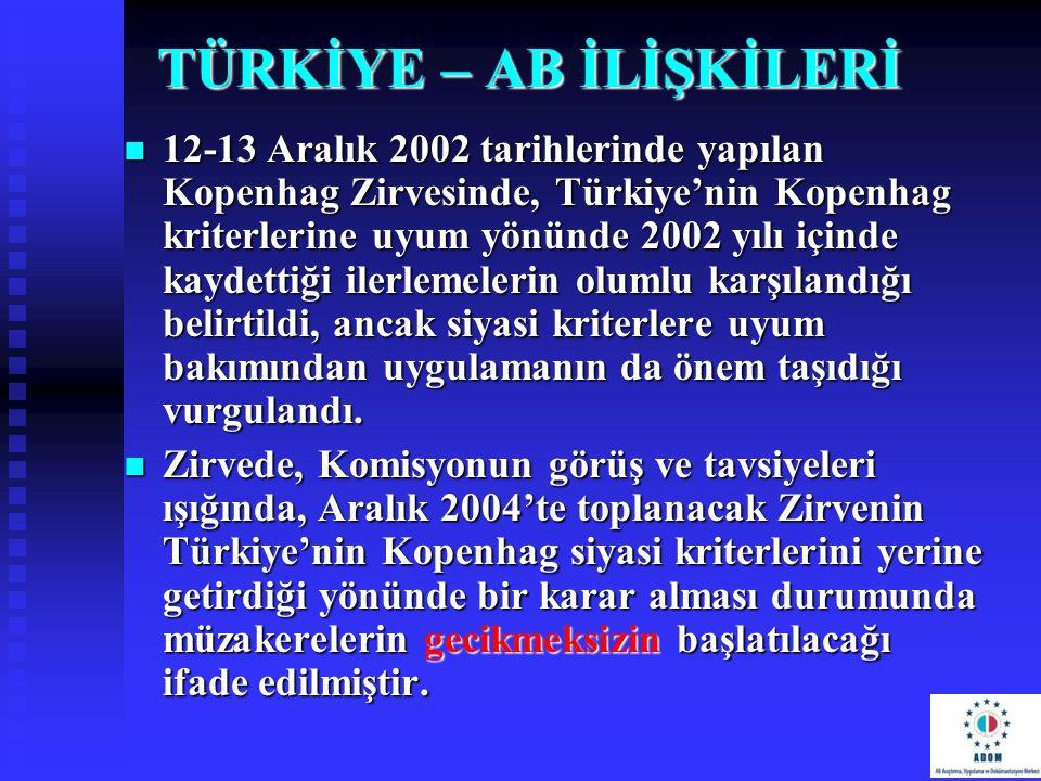 TÜRKİYE – AB İLİŞKİLERİ 12-13 Aralık 2002 tarihlerinde yapılan Kopenhag Zirvesinde, Türkiye'nin Kopenhag kriterlerine uyum yönünde 2002 yılı içinde ka
