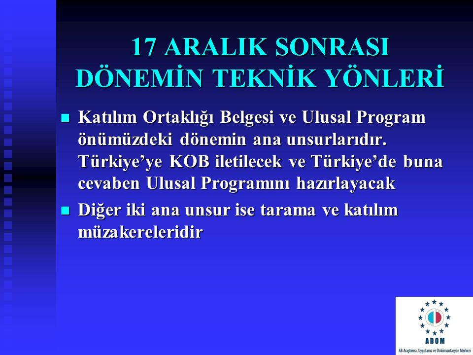 17 ARALIK SONRASI DÖNEMİN TEKNİK YÖNLERİ Katılım Ortaklığı Belgesi ve Ulusal Program önümüzdeki dönemin ana unsurlarıdır. Türkiye'ye KOB iletilecek ve