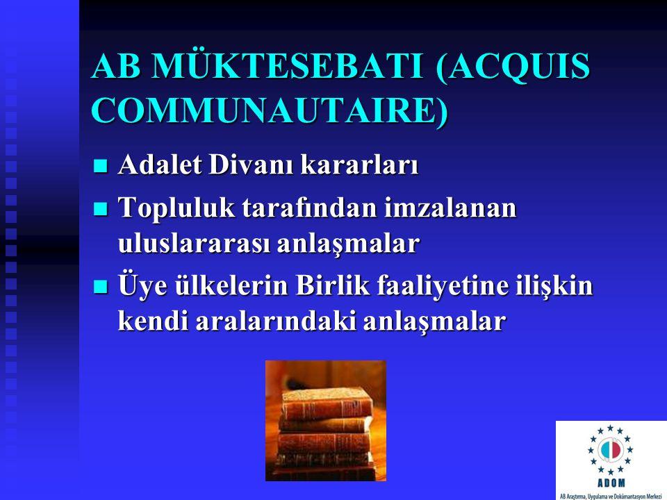 AB MÜKTESEBATI (ACQUIS COMMUNAUTAIRE) Adalet Divanı kararları Adalet Divanı kararları Topluluk tarafından imzalanan uluslararası anlaşmalar Topluluk t