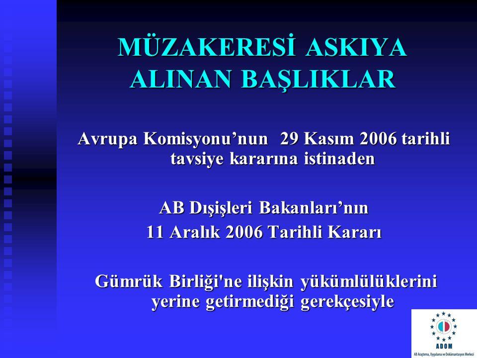 MÜZAKERESİ ASKIYA ALINAN BAŞLIKLAR Avrupa Komisyonu'nun 29 Kasım 2006 tarihli tavsiye kararına istinaden AB Dışişleri Bakanları'nın 11 Aralık 2006 Tar
