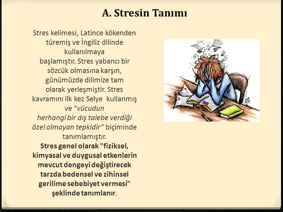 Stres kelimesi, Latince kökenden türemiş ve İngiliz dilinde kullanılmaya başlamıştır. Stres yabancı bir sözcük olmasına karşın, günümüzde dilimize tam