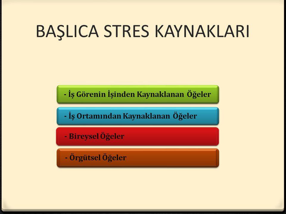 BAŞLICA STRES KAYNAKLARI - İş Görenin İşinden Kaynaklanan Öğeler - Örgütsel Öğeler - Bireysel Öğeler - İş Ortamından Kaynaklanan Öğeler