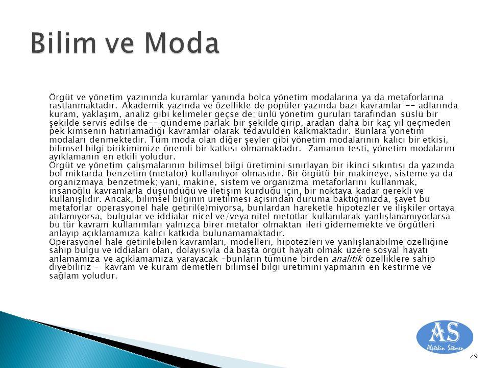 Örgüt ve yönetim yazınında kuramlar yanında bolca yönetim modalarına ya da metaforlarına rastlanmaktadır.