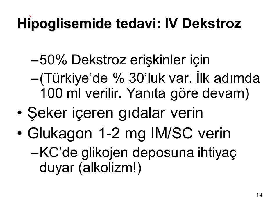 14 Hipoglisemide t Hipoglisemide tedavi: IV Dekstroz –50% Dekstroz erişkinler için –(Türkiye'de % 30'luk var. İlk adımda 100 ml verilir. Yanıta göre d