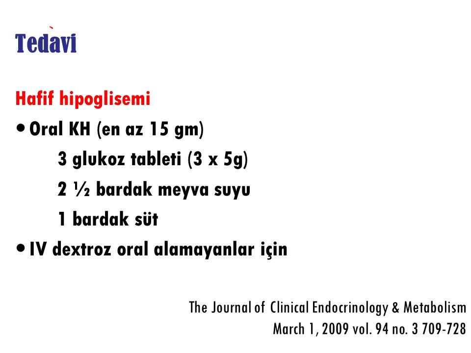 Tedavi Hafif hipoglisemi Oral KH (en az 15 gm) 3 glukoz tableti (3 x 5g) 2 ½ bardak meyva suyu 1 bardak süt IV dextroz oral alamayanlar için The Journ