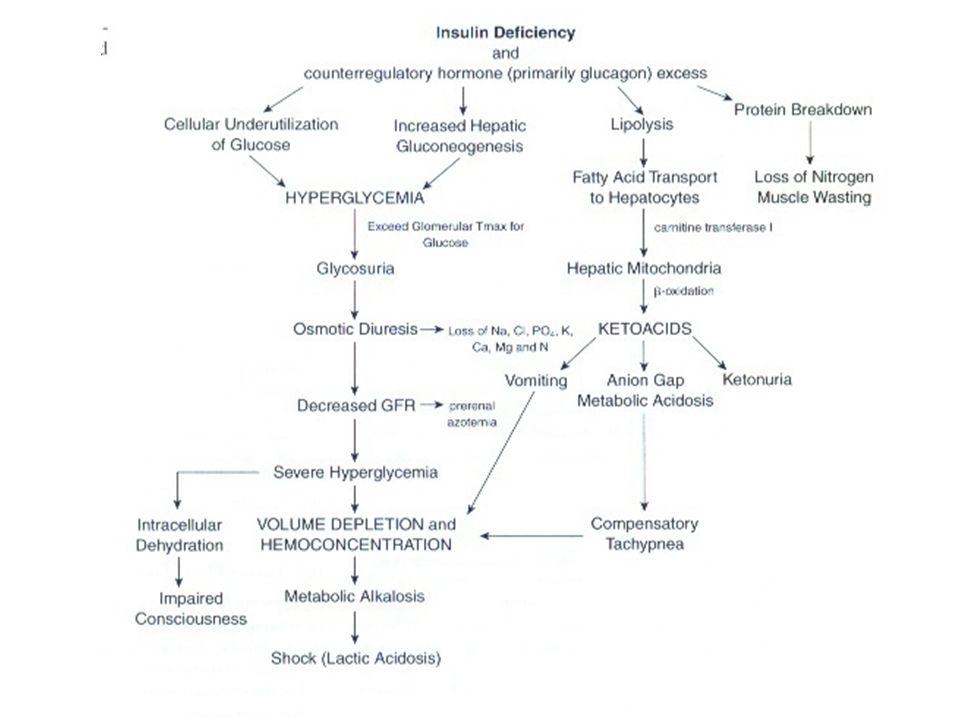 Patofizyoloji-DKA Hiperglisemi (aşırı glikoz üretimi, az kullanımı) Asidoz (ketogenez) –Aseton –asetoasetat –beta-hidroksibütirat'tır.