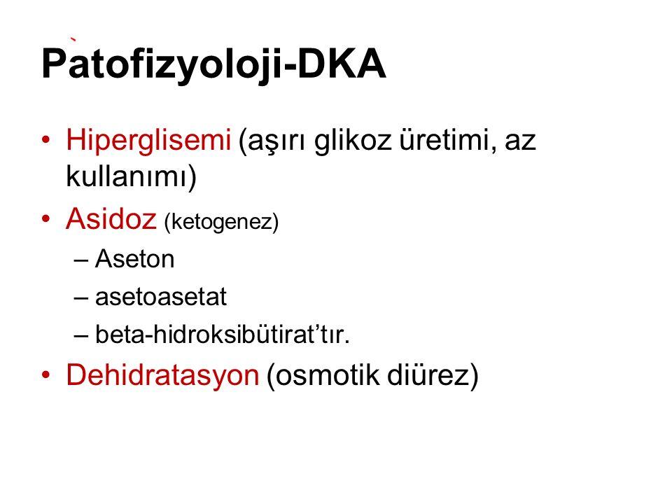 Patofizyoloji-DKA Hiperglisemi (aşırı glikoz üretimi, az kullanımı) Asidoz (ketogenez) –Aseton –asetoasetat –beta-hidroksibütirat'tır. Dehidratasyon (