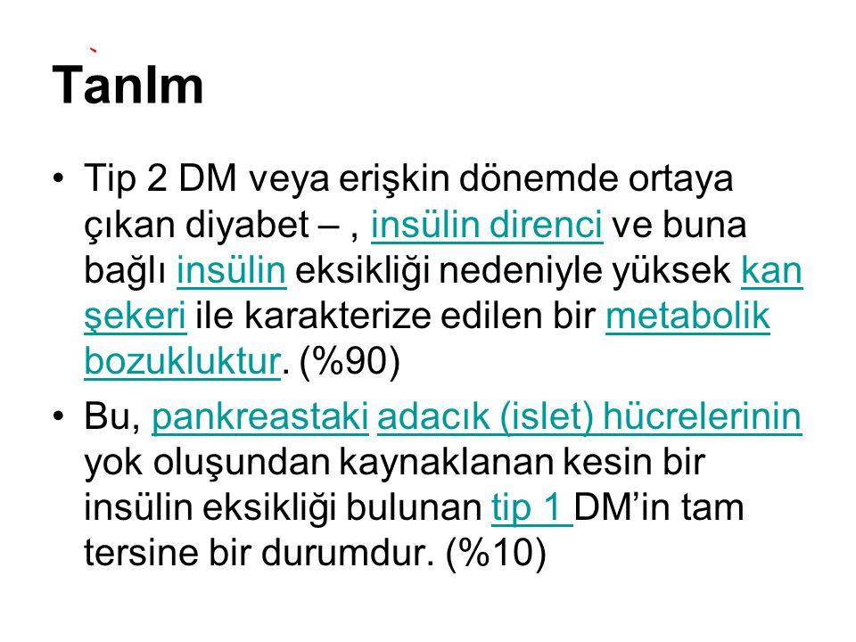 TanIm Tip 2 DM veya erişkin dönemde ortaya çıkan diyabet –, insülin direnci ve buna bağlı insülin eksikliği nedeniyle yüksek kan şekeri ile karakteriz