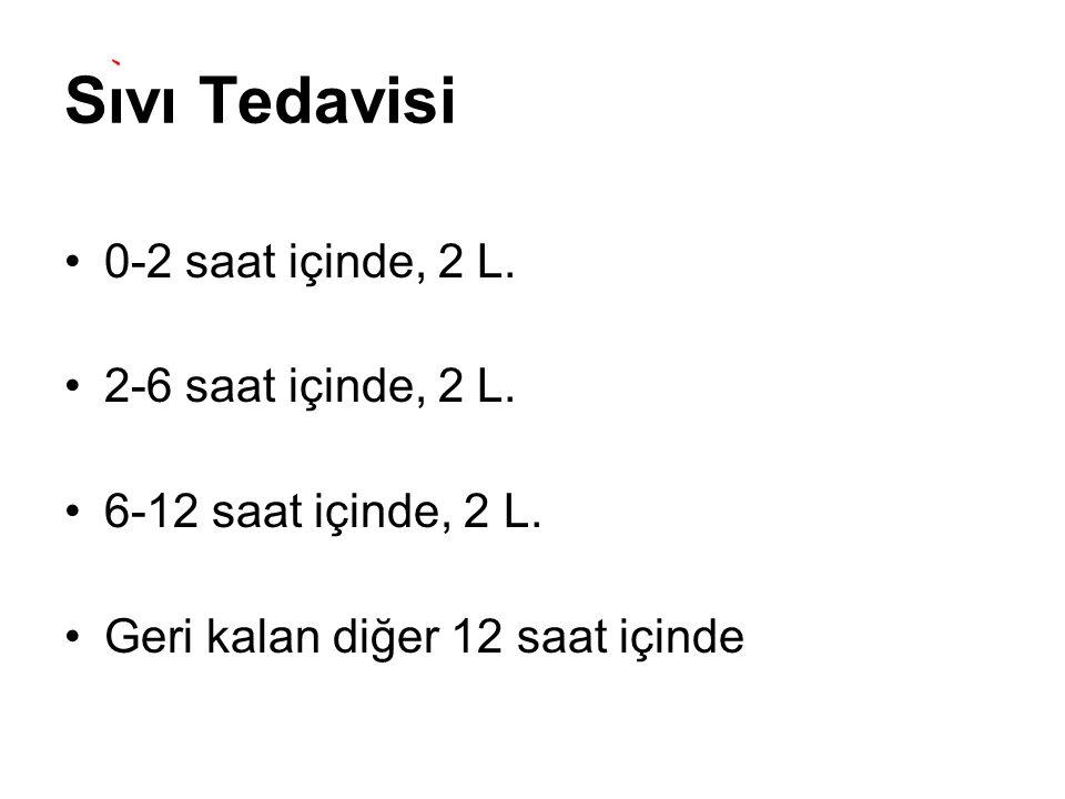 Sıvı Tedavisi 0-2 saat içinde, 2 L. 2-6 saat içinde, 2 L. 6-12 saat içinde, 2 L. Geri kalan diğer 12 saat içinde