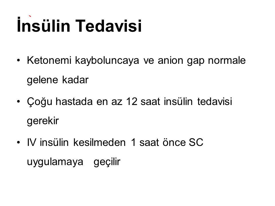İnsülin Tedavisi Ketonemi kayboluncaya ve anion gap normale gelene kadar Çoğu hastada en az 12 saat insülin tedavisi gerekir IV insülin kesilmeden 1 s