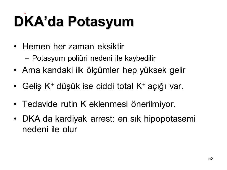 52 DKA'da Potasyum Hemen her zaman eksiktir –Potasyum poliüri nedeni ile kaybedilir Ama kandaki ilk ölçümler hep yüksek gelir Geliş K + düşük ise cidd