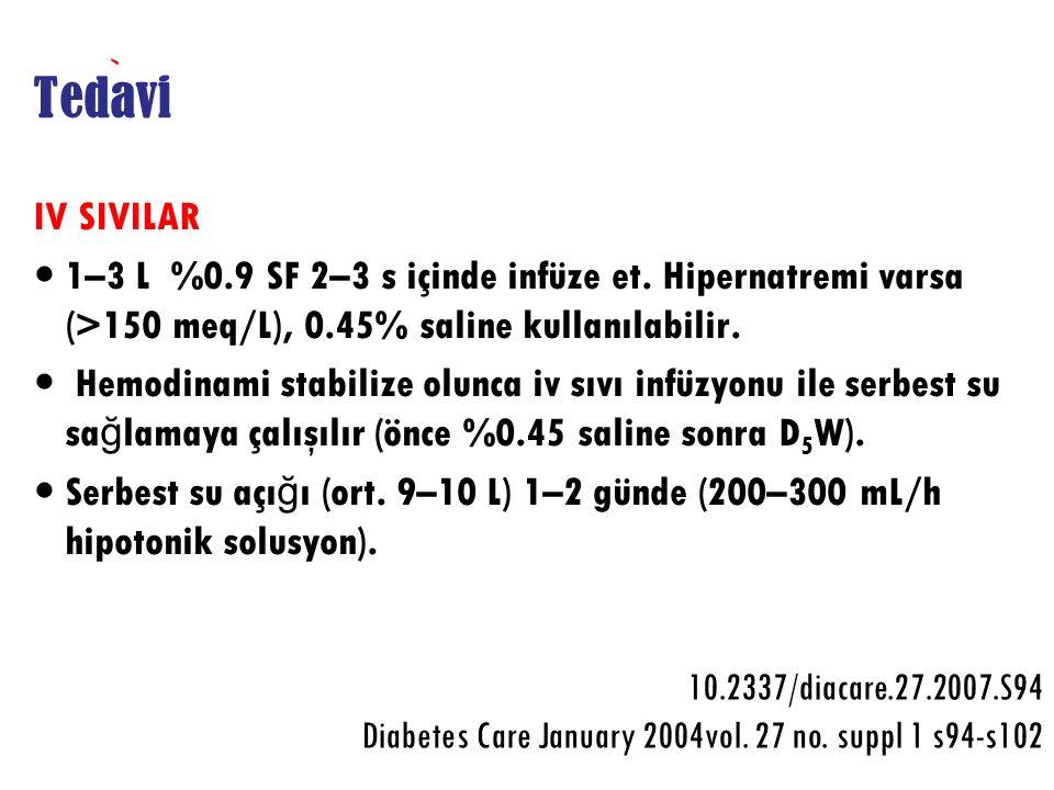 Tedavi IV SIVILAR 1–3 L %0.9 SF 2–3 s içinde infüze et. Hipernatremi varsa (>150 meq/L), 0.45% saline kullanılabilir. Hemodinami stabilize olunca iv s