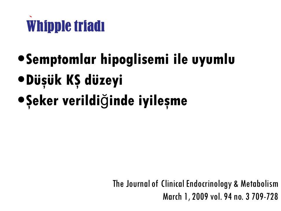 Whipple triadı Semptomlar hipoglisemi ile uyumlu Düşük KŞ düzeyi Şeker verildi ğ inde iyileşme The Journal of Clinical Endocrinology & Metabolism Marc