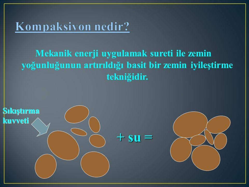 Mekanik enerji uygulamak sureti ile zemin yoğunluğunun artırıldığı basit bir zemin iyileştirme tekniğidir. + su = Sıkıştırma kuvveti