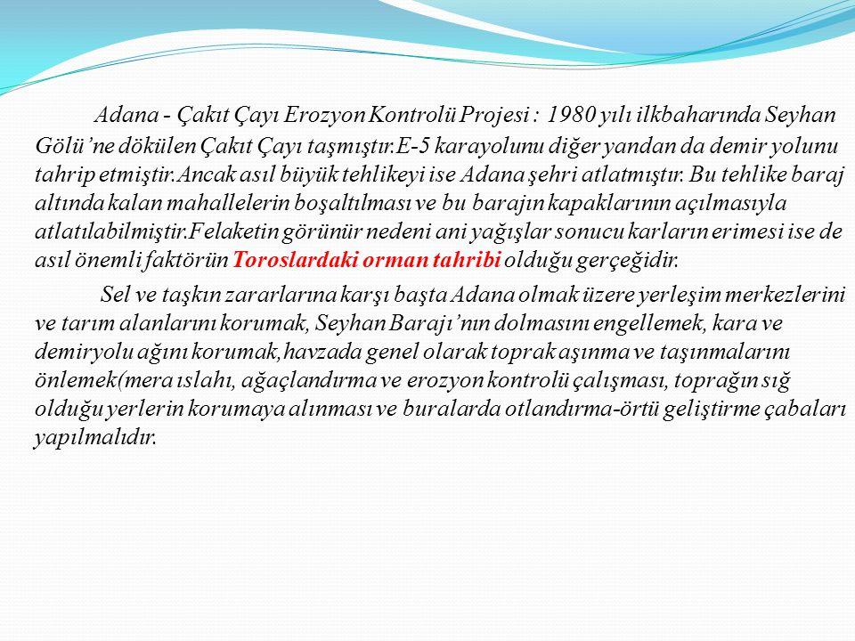 Adana - Çakıt Çayı Erozyon Kontrolü Projesi : 1980 yılı ilkbaharında Seyhan Gölü'ne dökülen Çakıt Çayı taşmıştır.E-5 karayolunu diğer yandan da demir yolunu tahrip etmiştir.Ancak asıl büyük tehlikeyi ise Adana şehri atlatmıştır.