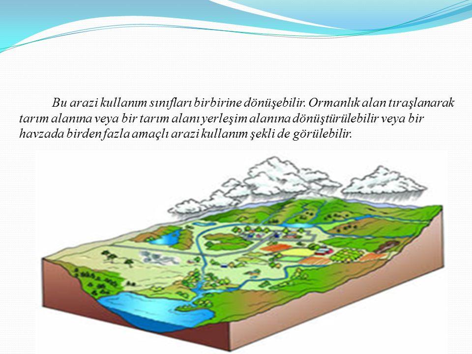 Bu arazi kullanım sınıfları birbirine dönüşebilir. Ormanlık alan tıraşlanarak tarım alanına veya bir tarım alanı yerleşim alanına dönüştürülebilir vey