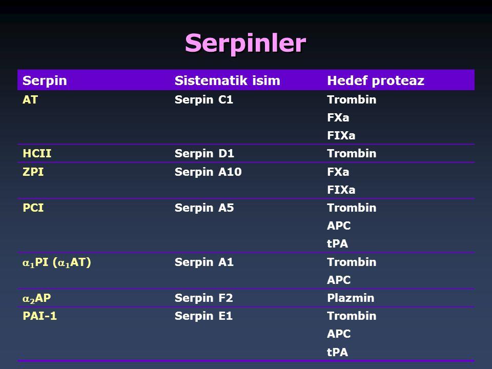 Serpinler SerpinSistematik isimHedef proteaz ATSerpin C1Trombin FXa FIXa HCIISerpin D1Trombin ZPISerpin A10FXa FIXa PCISerpin A5Trombin APC tPA  1 PI