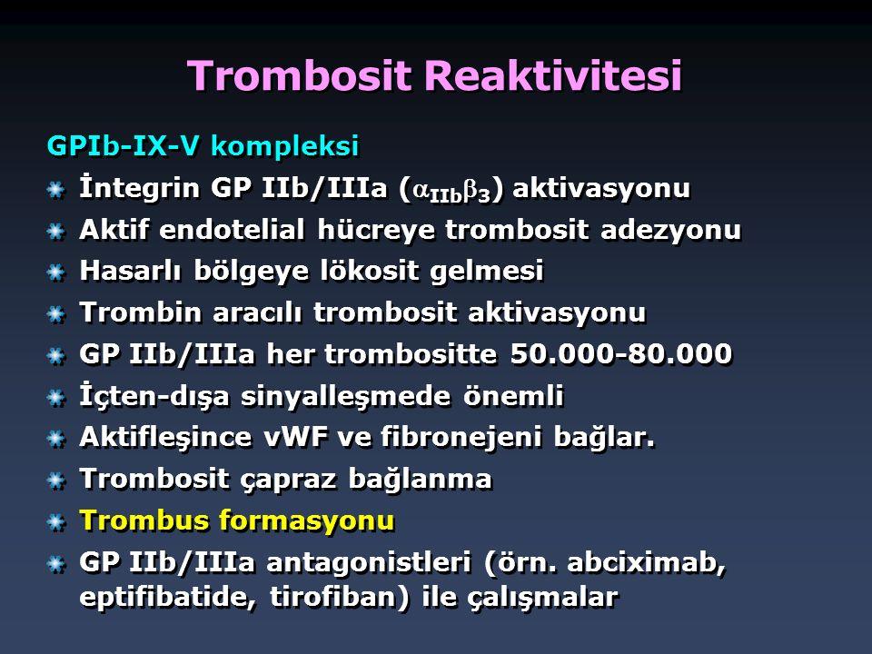 Trombosit Reaktivitesi GPIb-IX-V kompleksi İntegrin GP IIb/IIIa ( IIb  3 ) aktivasyonu Aktif endotelial hücreye trombosit adezyonu Hasarlı bölgeye l