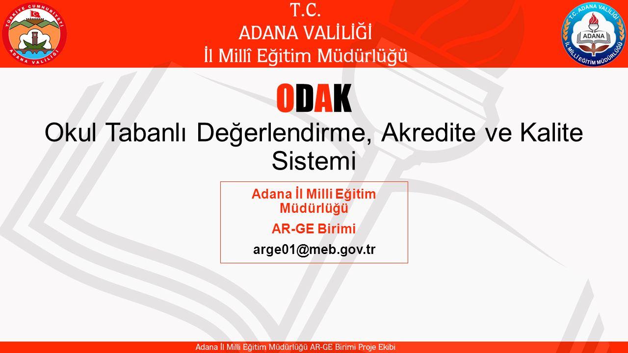 ODAK Okul Tabanlı Değerlendirme, Akredite ve Kalite Sistemi Adana İl Milli Eğitim Müdürlüğü AR-GE Birimi arge01@meb.gov.tr