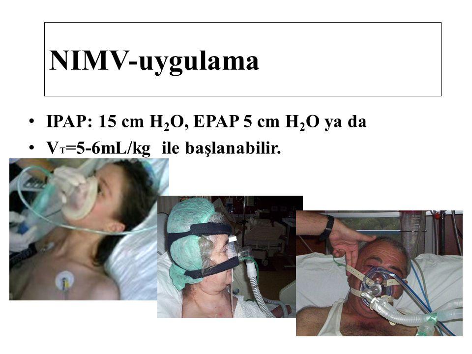 IPAP: 15 cm H 2 O, EPAP 5 cm H 2 O ya da V T =5-6mL/kg ile başlanabilir. NIMV-uygulama