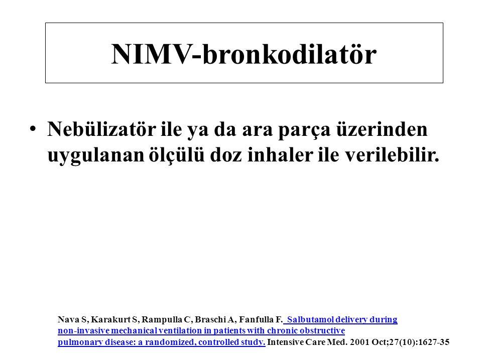 NIMV-bronkodilatör Nebülizatör ile ya da ara parça üzerinden uygulanan ölçülü doz inhaler ile verilebilir. Nava S, Karakurt S, Rampulla C, Braschi A,
