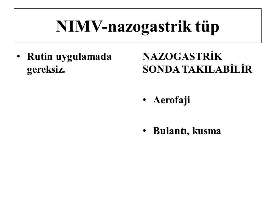 NIMV-nazogastrik tüp Rutin uygulamada gereksiz. NAZOGASTRİK SONDA TAKILABİLİR Aerofaji Bulantı, kusma