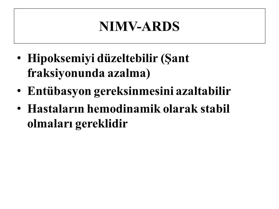 NIMV-ARDS Hipoksemiyi düzeltebilir (Şant fraksiyonunda azalma) Entübasyon gereksinmesini azaltabilir Hastaların hemodinamik olarak stabil olmaları ger