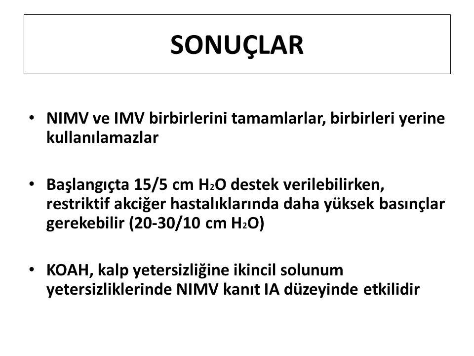 SONUÇLAR NIMV ve IMV birbirlerini tamamlarlar, birbirleri yerine kullanılamazlar Başlangıçta 15/5 cm H 2 O destek verilebilirken, restriktif akciğer h