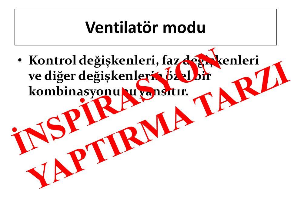 Ventilatör modu Kontrol değişkenleri, faz değişkenleri ve diğer değişkenlerin özel bir kombinasyonunu yansıtır. İNSPİRASYON YAPTIRMA TARZI