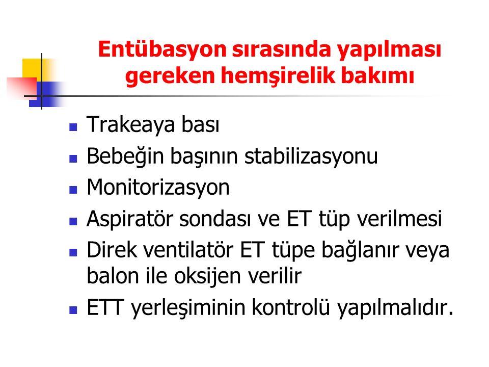 Entübasyon sırasında yapılması gereken hemşirelik bakımı Trakeaya bası Bebeğin başının stabilizasyonu Monitorizasyon Aspiratör sondası ve ET tüp veril