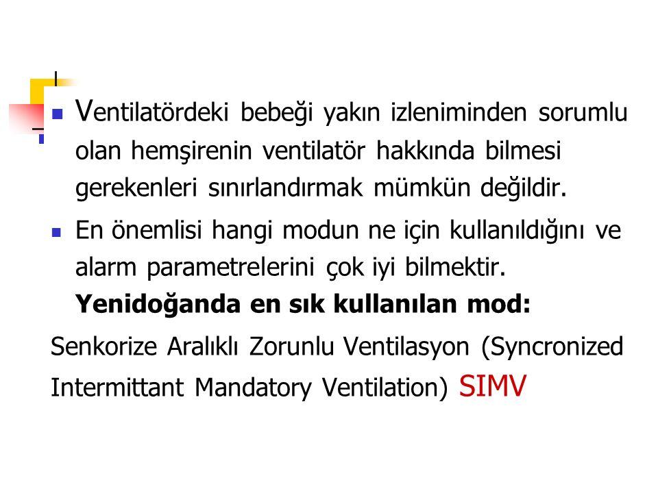 V entilatördeki bebeği yakın izleniminden sorumlu olan hemşirenin ventilatör hakkında bilmesi gerekenleri sınırlandırmak mümkün değildir. En önemlisi
